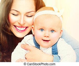 mère bébé, ensemble., maternité, concept