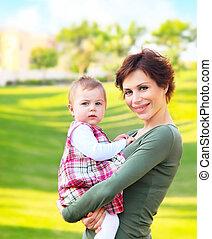 mère bébé, girl, extérieur, portrait