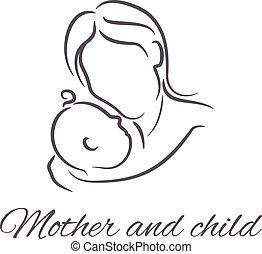 mère, bébé, linéaire, illustrations, silhouette
