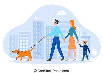 mère, chouchou, gens, père, promenade, heureux, rue ville, propriétaires, chien, vecteur, fils, caractères, dessin animé, marche, propre, animal, gosse, famille, illustration, jeune