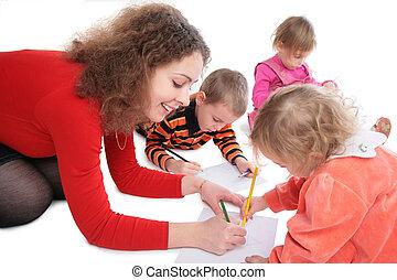 mère, dessin, enfants