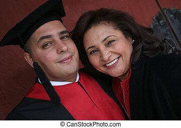 mère, diplômé, université, sien