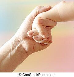 mère, enfant, main