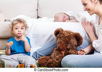 mère, enfants, temps libre