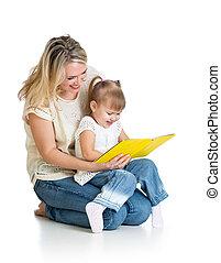 mère, ensemble, livre, enfant, lecture, heureux