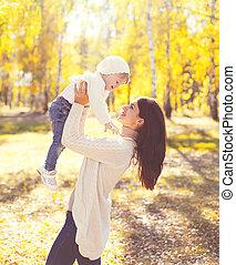 mère, ensoleillé, avoir, automne, chaud, enfant, amusement, jouer, jour, heureux