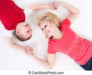 mère, et, les, fils, mensonge, sur, a, plancher, avoir, joint, hands.