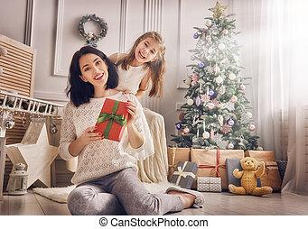 mère fille, échanger, dons