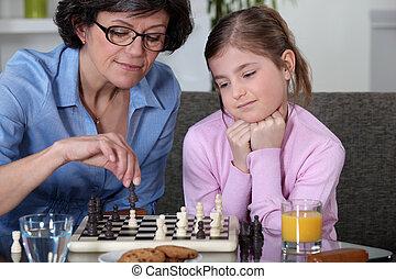 mère, fille, échecs, jouer