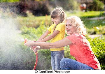mère fille, petite fille, fonctionnement, dans jardin