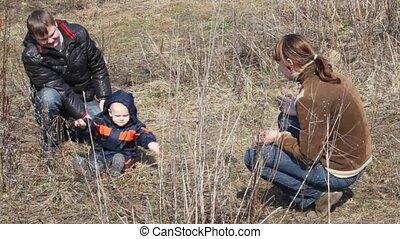 mère, garçon, parc, père, printemps