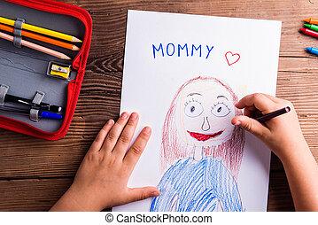mère, girl, dessin, image, unrecognizable, elle