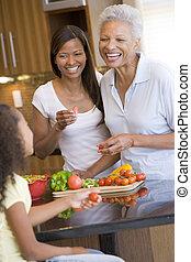 mère, mealtime, préparer, ensemble, fille, repas