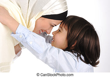 mère, musulman, fils, autre, chaque, aimer