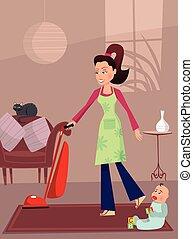 mère, occupé, maison
