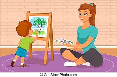 mère, peinture, elle, fils
