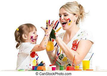 mère, peinture, passe-temps, avoir, enfant, amusement