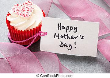 """mère, petit gâteau, étiquette, """"happy, blanc, day"""", glaçage"""