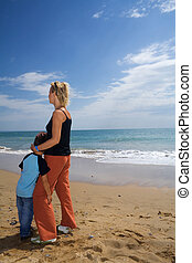mère, plage, fils
