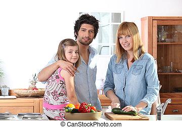 mère, repas, elle, famille, préparer