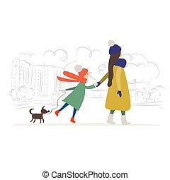 mère, rue., ville, season., hiver, enfant, chien marche