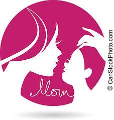 mère, silhouettes, mère, bébé, icon., jour, carte, heureux