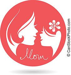 mère, silhouettes., mère, bébé, jour, carte, heureux