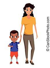mère simple, famille, gosse