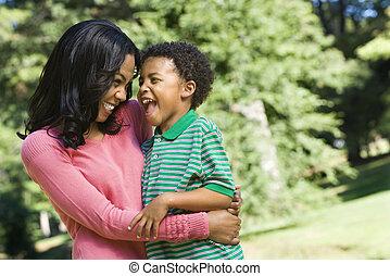 mère, sourire, son.
