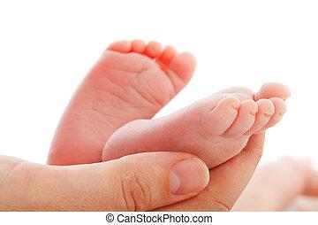 mère, tenue, nouveau-né, pieds