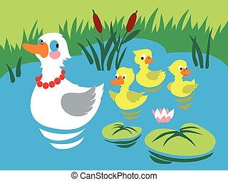 mère, trois, canards, canard, bébé, pond.
