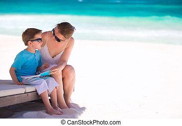 mère, vacances, fils