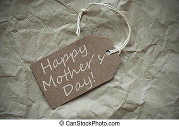 mères, étiquette, papier, arrière-plan beige, jour, heureux