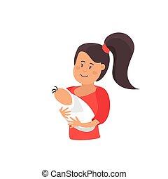 mères, amour, heureux, jour, illustration, maman