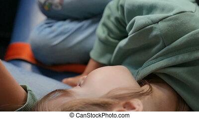 mères, avion, dormir, girl, recouvrement, peu