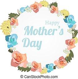 mères, banner., salutation, jour, carte, heureux