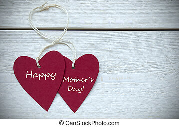 mères, deux, étiquette, cœurs, jour, heureux