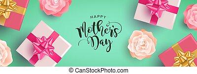 mères, dons, fleurs, bannière, jour, heureux
