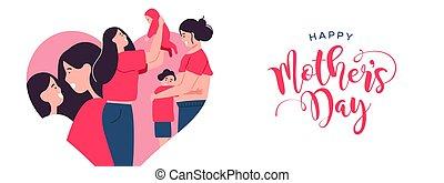 mères, enfants, maman, bannière, jour, heureux