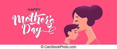 mères, fils, mère, baisers, bannière, jour, heureux