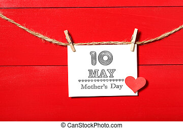 mères, mai, pendre, 10ème, jour, carte, pinces
