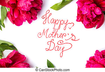 mères, roses, carte, jour, rouges, heureux