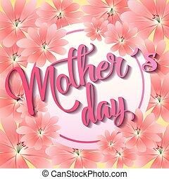 mères, salutation, délicat, floral, jour, carte