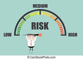 mètre, risque, personne