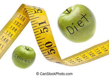 mètre ruban, concept, calories, régime