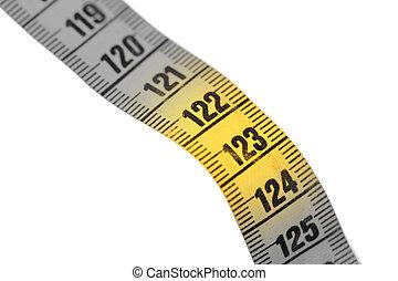 mètre ruban, gros plan, 123, blanc, jaune, isolé, -