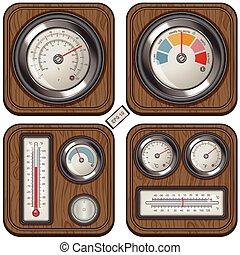 mètres, température