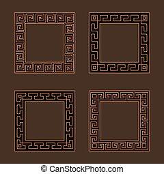 méandre, frames., carrée, ensemble, vecteur, quatre