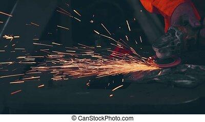mécanicien, acier, metal., professionnel, découpage