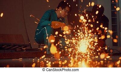 mécanicien, acier, professionnel, metal., découpage